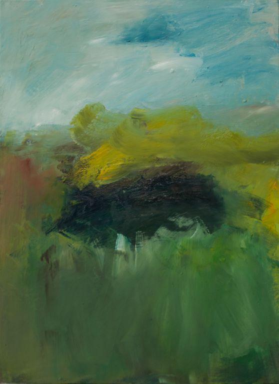 oel gemaelde, oil painting, Serie Landschaft 1-5, Landschaft3, 2015, oel/ leinen, 50/40 cm